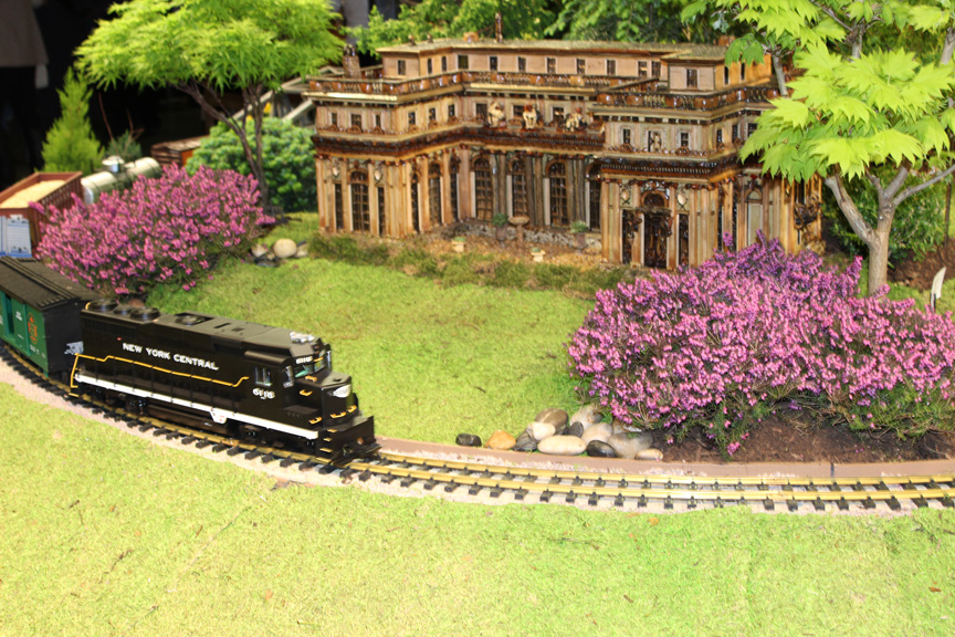 The train stops at Rosecliff in Newport in this year's Boston Flower and Garden Show.