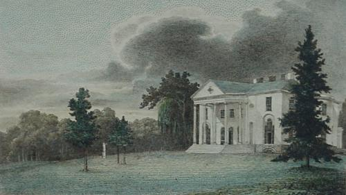 "William Birch, ""The Woodlands Seat of Mr. Wm Hamilton."" tinted litho from Country Seats, 1809.  Print & Picture (Castner) Collection, Free Library of Philadelphia"