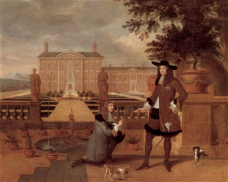 Charles II is presented with the first pineapple in England by his gardener John Rose. (Painting by Hendrik Danckherts, 1675).