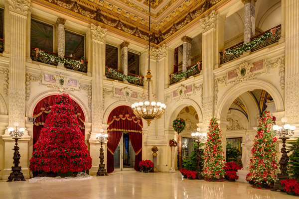 The Grand Hall at The Breakers with its fifteen foot Christmas Tree to the left