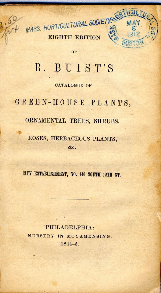 Buist 1844 catalog [Courtesy of Mass Hort]