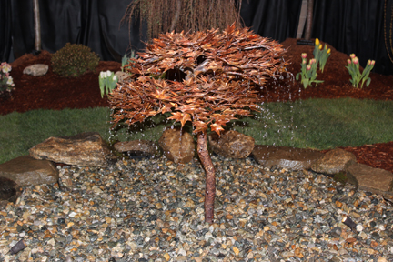 Copper water feature in a stone bed at last weeks Connecticut Flower and Garden Show i Hartford, Conn.