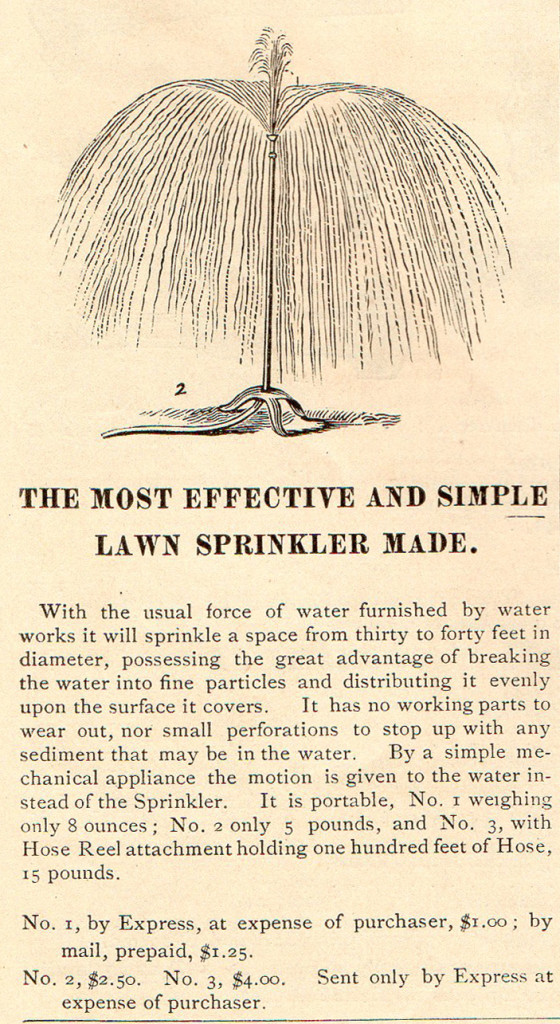 Lawn sprinker featured in James Vick's 1880 seed catalog.