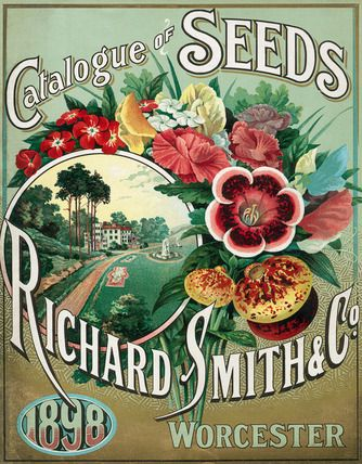 Title: Catalogue of Seeds. Source: Front Cover, Nursery catalogue, Richard Smith & Co. 1898 Description: Front cover of the nursery catalogue of Richard Smith and Co of Worcester, depicting a posy of cut flowers and a garden scene. Date: 1898.
