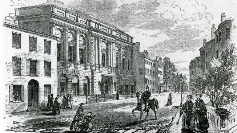 Boston Athenaeum ,10 1/2 Beacon Street, in 1855