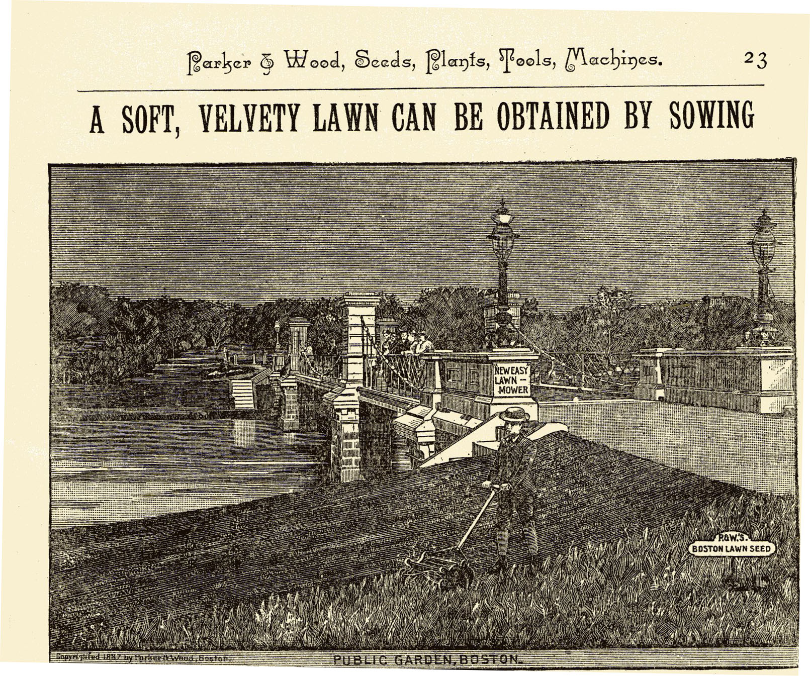 an ad for grass seed in Park & Wood Catalog 1889