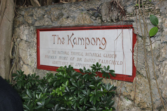 Kampong sign at the entrance to the garden