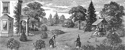 Lawn and House in VIL Monthly 1878, August